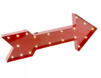 Red Metal Arrow Circus Wall Light with LED's 62cm